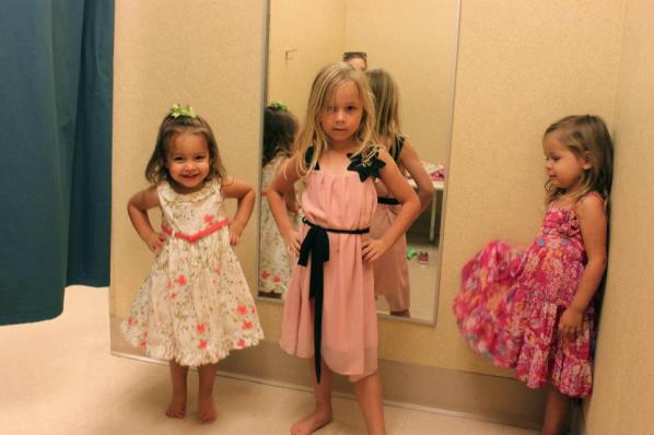 Easter dress shopping with Harper (Sara and Sophie's  other sister)