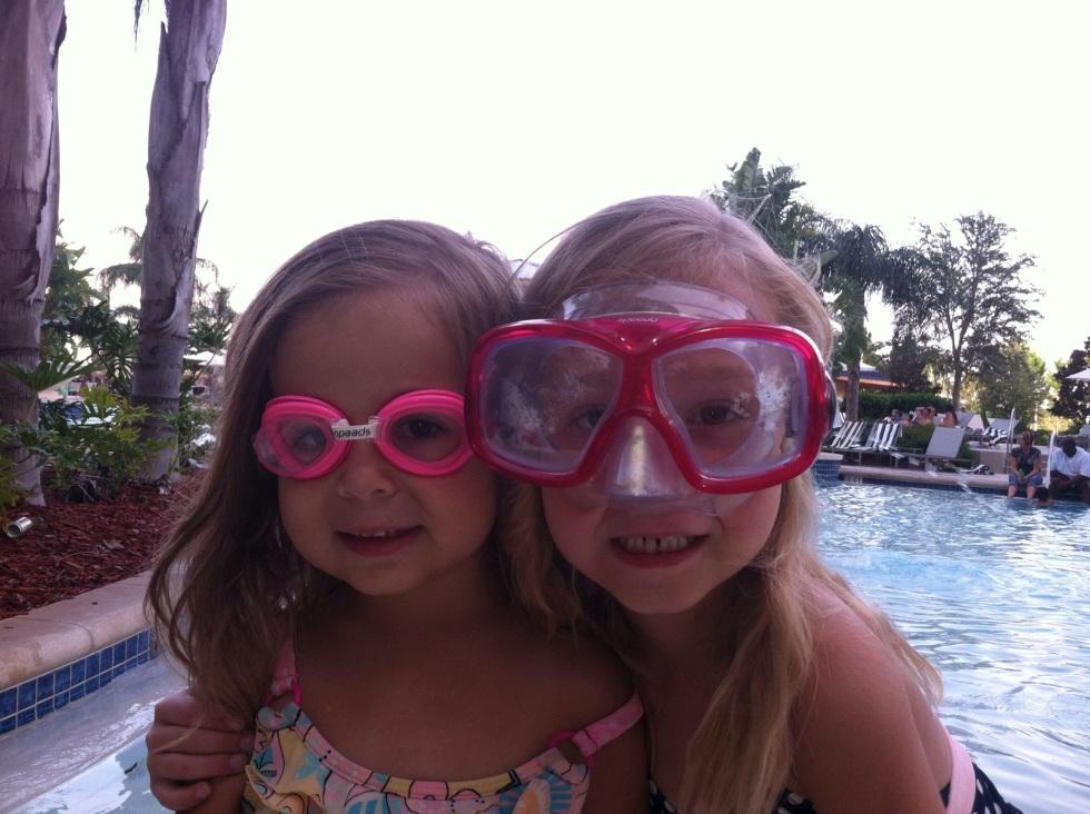 Sara and Sophia at the pool