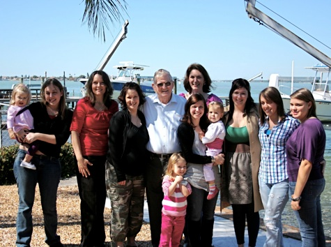 Pepa Morton with most of   his granddaughtersFeb. 14th, 2010