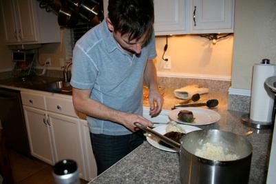 Doug makes dinner