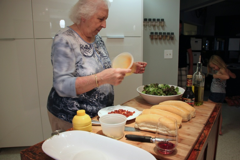 Mom Webber in the kitchen