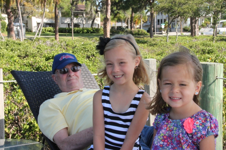 Sara and Sophie with Grandpa