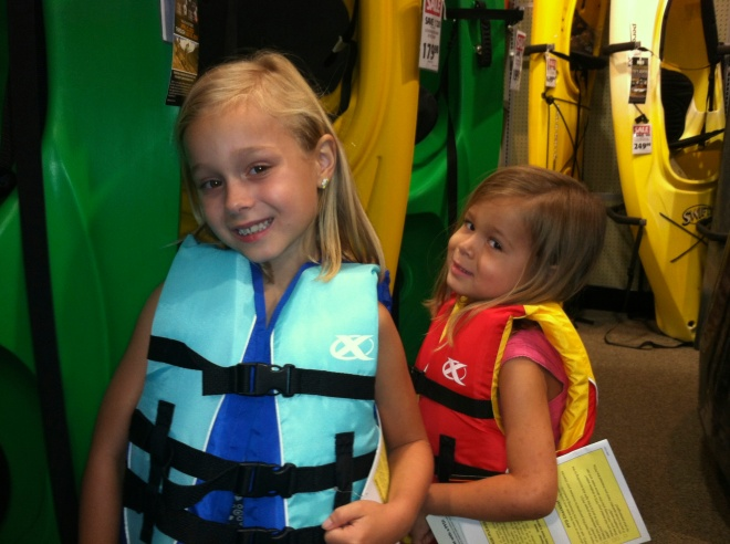 we found our kayaks, life vests and water shoes!