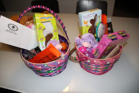 Easter baskets from the girls nanny Melissa.