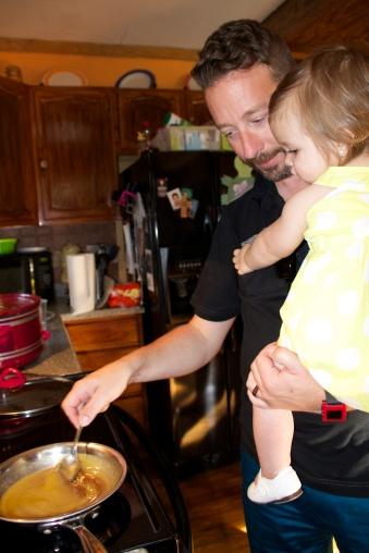 Doug teaches Audrey how to make glaze for the ham