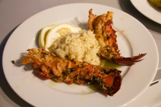 grilled lobster tail with lemon butter over risotto