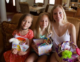 Melissa spoiled the girls with Easter baskets