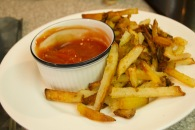 homemade french fries with spicy ketchup
